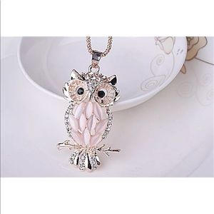 Rose Gold & Crystal Owl Fashion Necklace